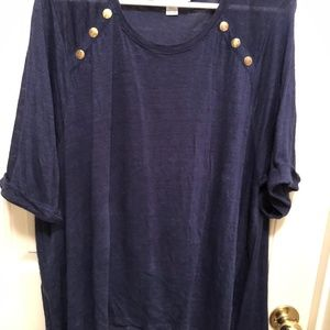 Disney Cruise Line DCL 2X Navy Blouse w/Gold Logo